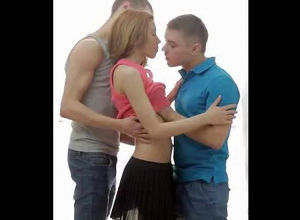 2 guys smooches little dame girl. When..
