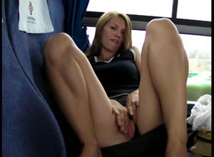 Uber-cute young rubs herself on the bus
