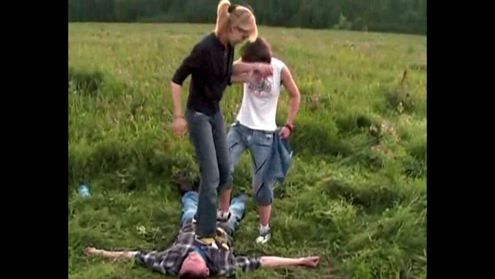 Ukrainian young ladies stomp a dude..